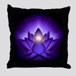 Chakra Lotus - Third Eye Purple - ban Throw Pillow