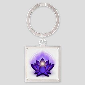 Chakra Lotus - Third Eye Purple Square Keychain