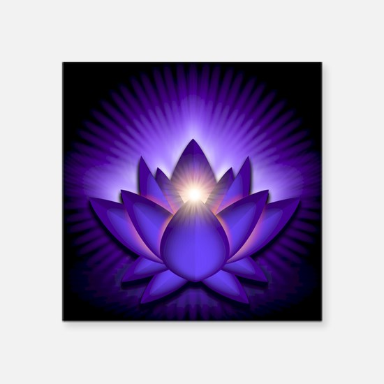 "Chakra Lotus - Third Eye Pu Square Sticker 3"" x 3"""