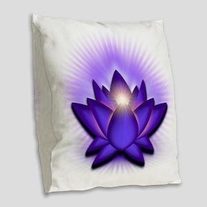 Chakra Lotus - Third Eye Purpl Burlap Throw Pillow