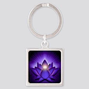 Chakra Lotus - Third Eye Purple -  Square Keychain