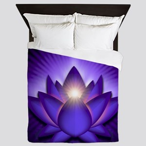 Chakra Lotus - Third Eye Purple - gree Queen Duvet