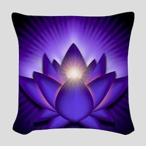 Chakra Lotus - Third Eye Purpl Woven Throw Pillow