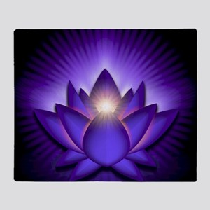 Chakra Lotus - Third Eye Purple - gr Throw Blanket