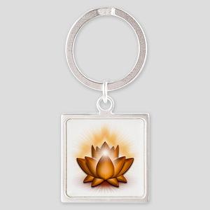 Chakra Lotus - Sacral Orange Square Keychain