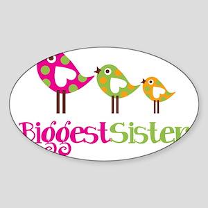 PolkaDotBirds3BiggestSister Sticker (Oval)