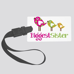 PolkaDotBirds3BiggestSister Large Luggage Tag