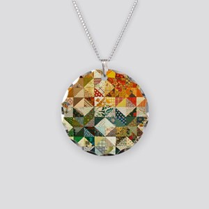 Fun Patchwork Quilt Necklace Circle Charm