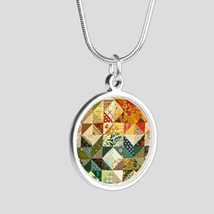 Fun Patchwork Quilt Silver Round Necklace