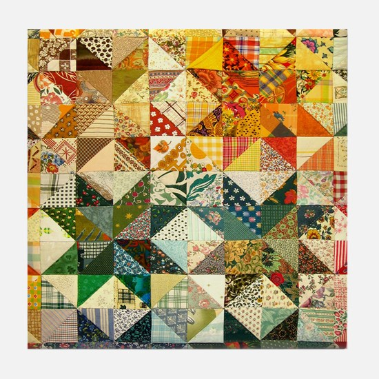Fun Patchwork Quilt Tile Coaster