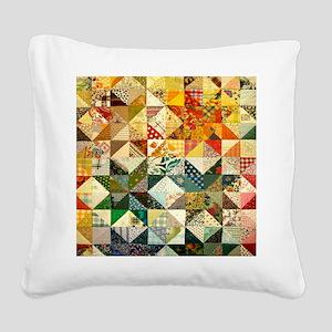 Fun Patchwork Quilt Square Canvas Pillow
