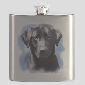 black lab portrait Flask