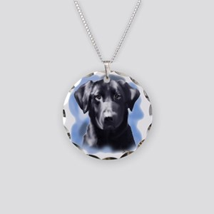 black lab portrait Necklace Circle Charm