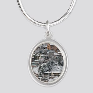 town_view_full_text copy Silver Oval Necklace