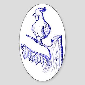 ToileRooster200dpi_9inW_Blue Sticker (Oval)