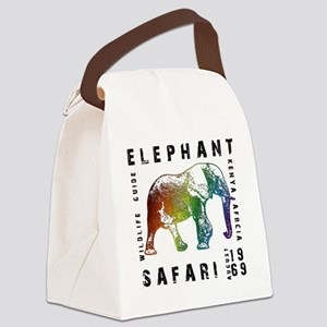 Rainbow Elephant Reserve dark tex Canvas Lunch Bag
