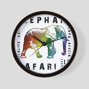 Rainbow Elephant Reserve dark text Wall Clock