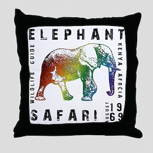 Rainbow Elephant Reserve dark text Throw Pillow