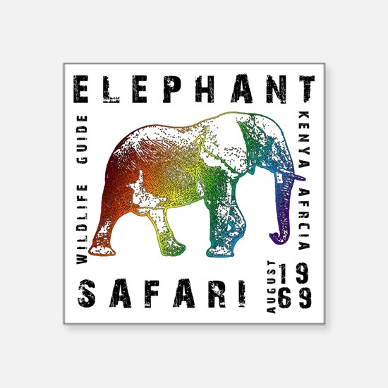 "Rainbow Elephant Reserve da Square Sticker 3"" x 3"""