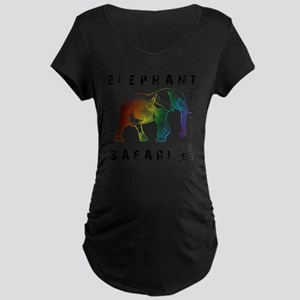Rainbow Elephant Reserve da Maternity Dark T-Shirt