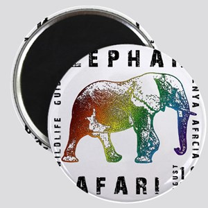 Rainbow Elephant Reserve dark text Magnet