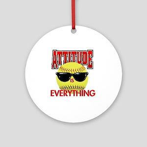 Attitude_Softball_2500 Round Ornament