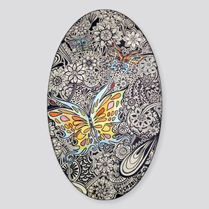 bwbutterflies zazzle poster Sticker (Oval)