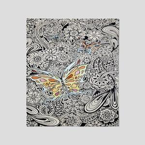 bwbutterflies cp showercurtain Throw Blanket