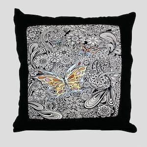 bwbutterflies cp showercurtain Throw Pillow