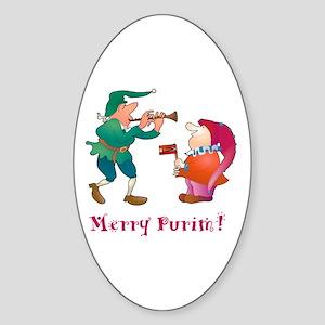 Merry Purim! Oval Sticker