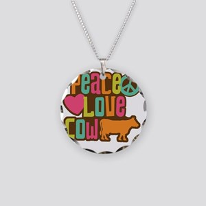 PeaceLoveCow2 Necklace Circle Charm