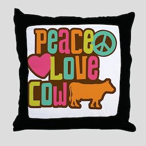 PeaceLoveCow2 Throw Pillow