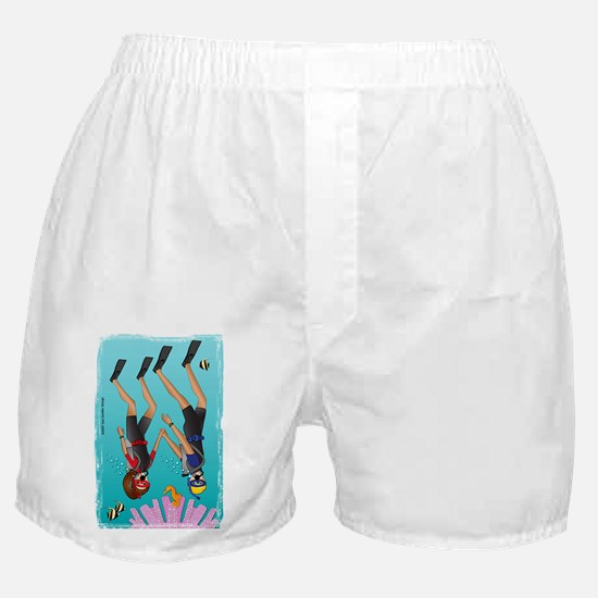 Scuba Scene Couple (brunette/blonde) Boxer Shorts