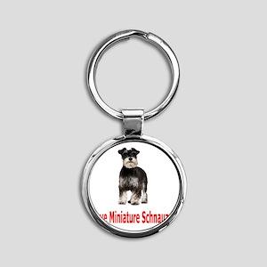 Miniature Schnauzers Round Keychain