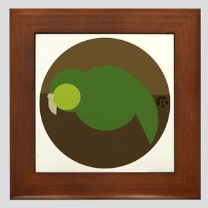 kakapo circle Framed Tile