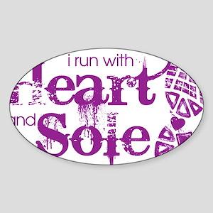 Heart n Sole purple Sticker (Oval)