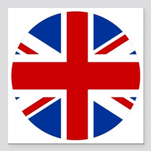 """union-jack-rounded Square Car Magnet 3"""" x 3"""""""