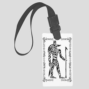 Anubis w border Large Luggage Tag