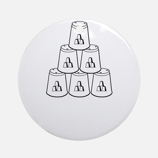 white My Son is Stack-tacular, retr Round Ornament