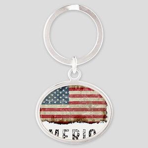vintageAmerica5 Oval Keychain