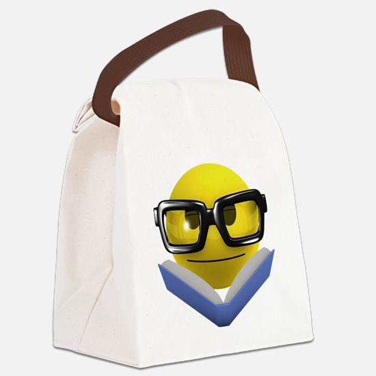 3d-smiley-bookworm Canvas Lunch Bag
