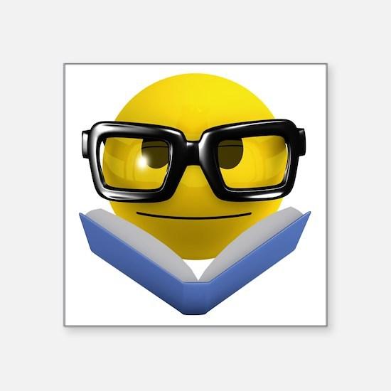 "3d-smiley-bookworm Square Sticker 3"" x 3"""