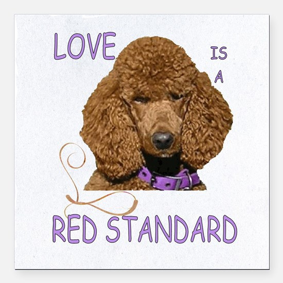 """Love is a Red Standard Square Car Magnet 3"""" x 3"""""""