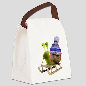 3d-snail-toboggan Canvas Lunch Bag