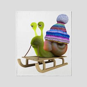3d-snail-toboggan Throw Blanket