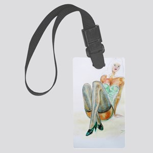 Female figure art. Woman in Blue Large Luggage Tag
