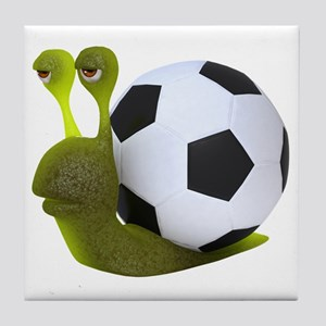 3d-snail-football Tile Coaster