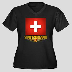 Switzerland  Women's Plus Size Dark V-Neck T-Shirt