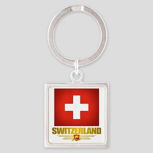 Switzerland (Flag 10) 2 Square Keychain