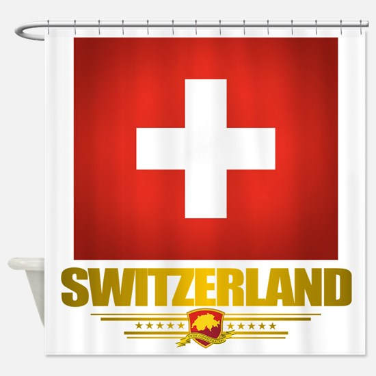 Switzerland (Flag 10) 2 Shower Curtain